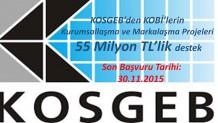 KOSGEB'DEN KOBİ'LERİN KURUMSALLAŞMA VE MARKALAŞMA PROJELERİ 55 MİLYON TL'LİK DESTEK…