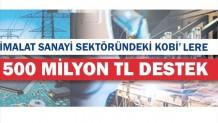 İmalat Sanayi Sektöründeki Kobi'lere 500 Milyon TL Destek